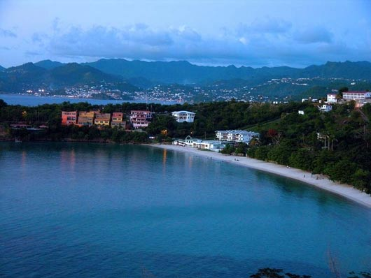 View looking down on Morne Rouge Beach in Grenada